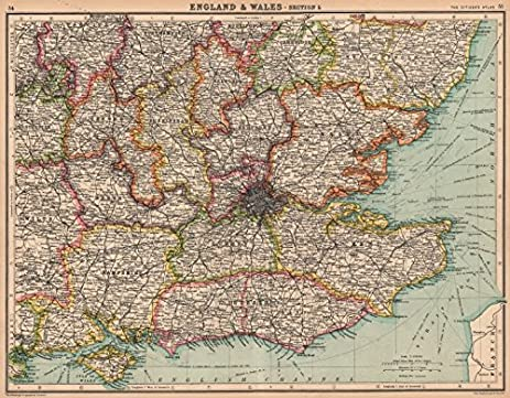 Amazon south east england counties bartholomew 1924 old south east england counties bartholomew 1924 old map antique map gumiabroncs Gallery