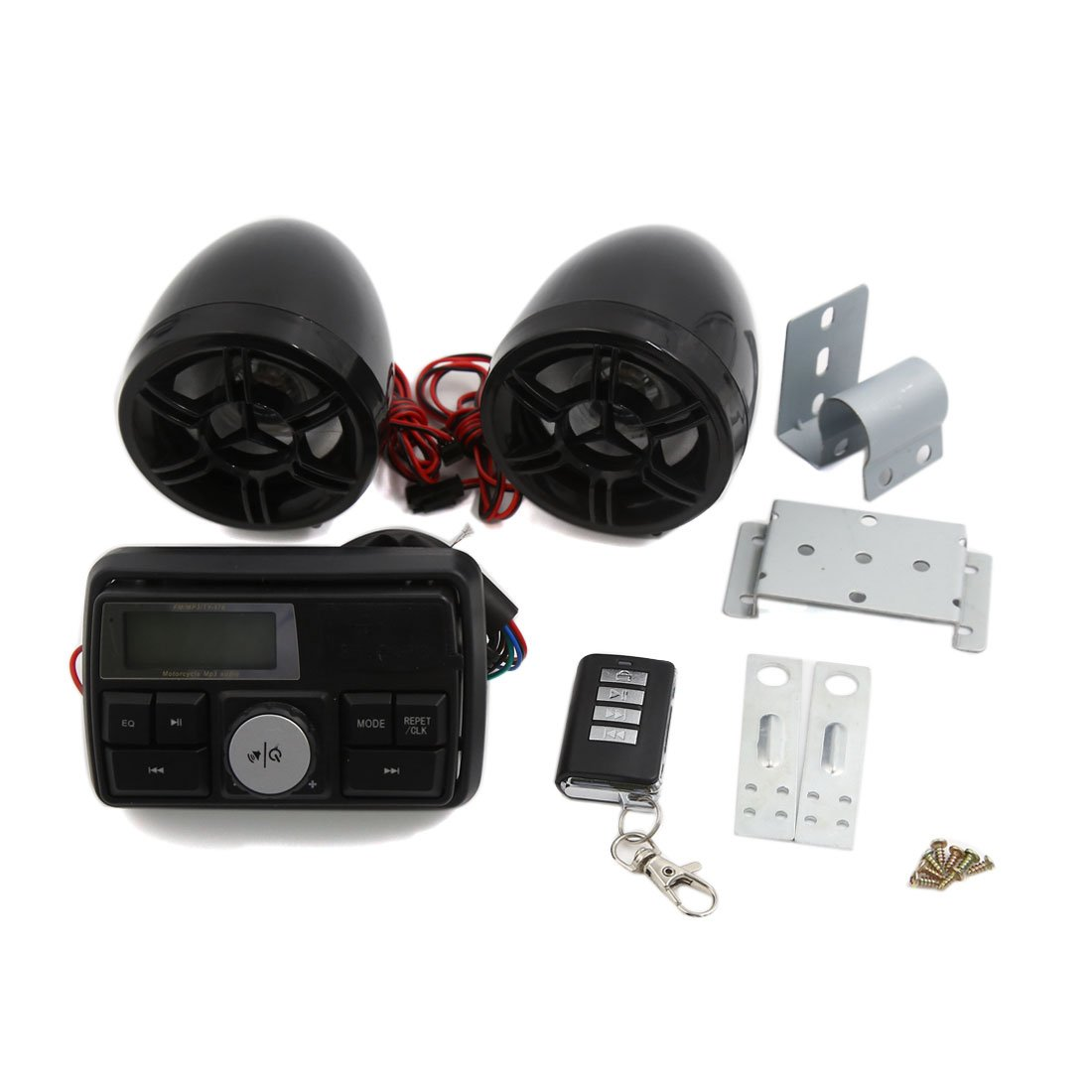 uxcell Motorcycle Handlebar Audio System USB SD Radio Speaker MP3 Player Remote Control