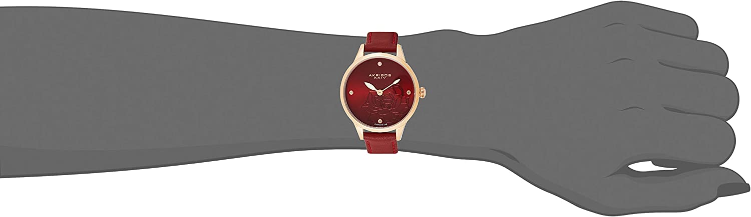 Akribos XXIV Flower Engraved Dial Watch - 4 Diamond Markers On a Leather Strap Women's Watch - Beautiful Gift Box Perfect for Mothers Day - AK1047 Ruby Red