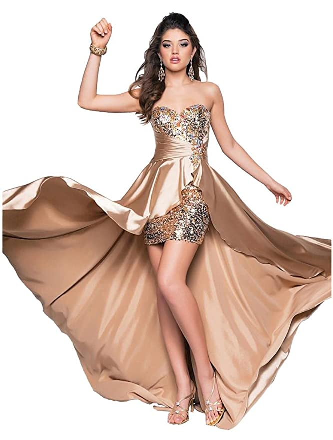 Drasawee Women Beaded Front Short Long Back Evening Prom Party Dress ...