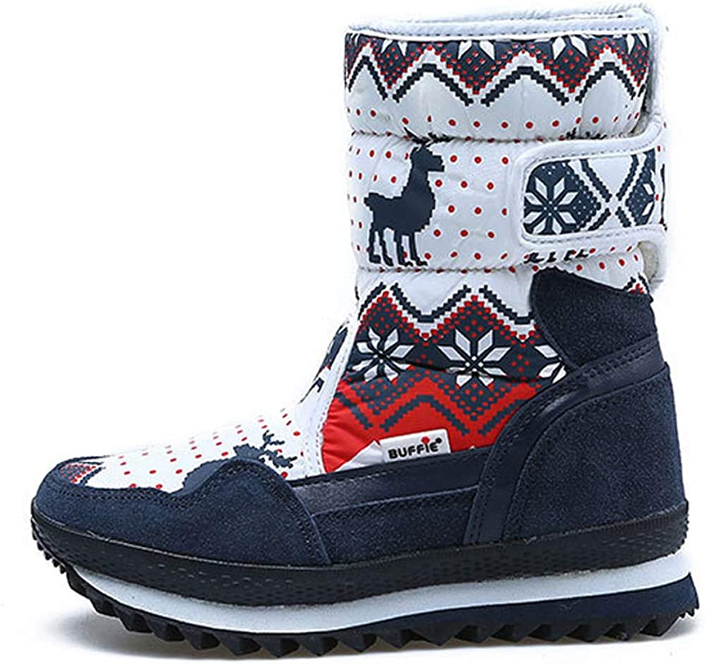 Gaorui Girls Boys Unisex Kids Outdoor Waterproof Winter Snow Boots Warm Faux Fur Lined Shoes Ski Boots Mid Calf Boots