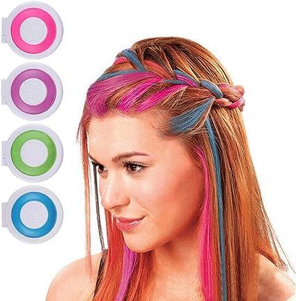 Juego de 4 tizas para colorear el pelo, temporal, color de ...