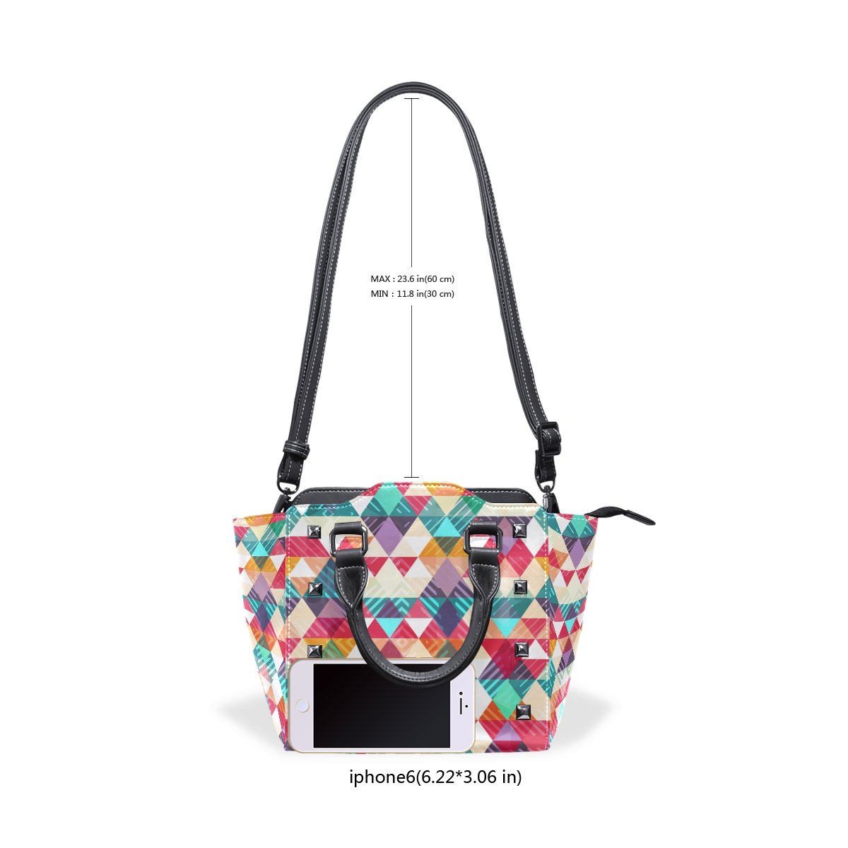 Womens Top Handle Satchel Handbag Vintage Colorful Triangle Ladies PU Leather Shoulder Bag Crossbody Bag