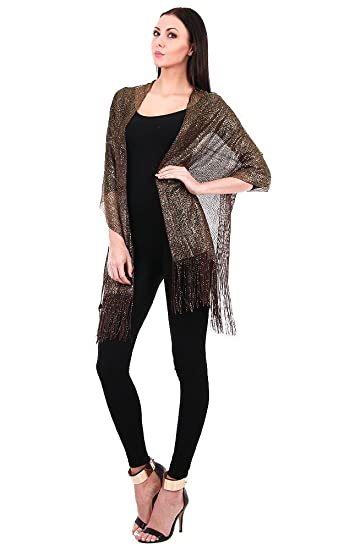 Sheer Delights Fringed Mesh Evening Wrap Shawl For Prom Wedding
