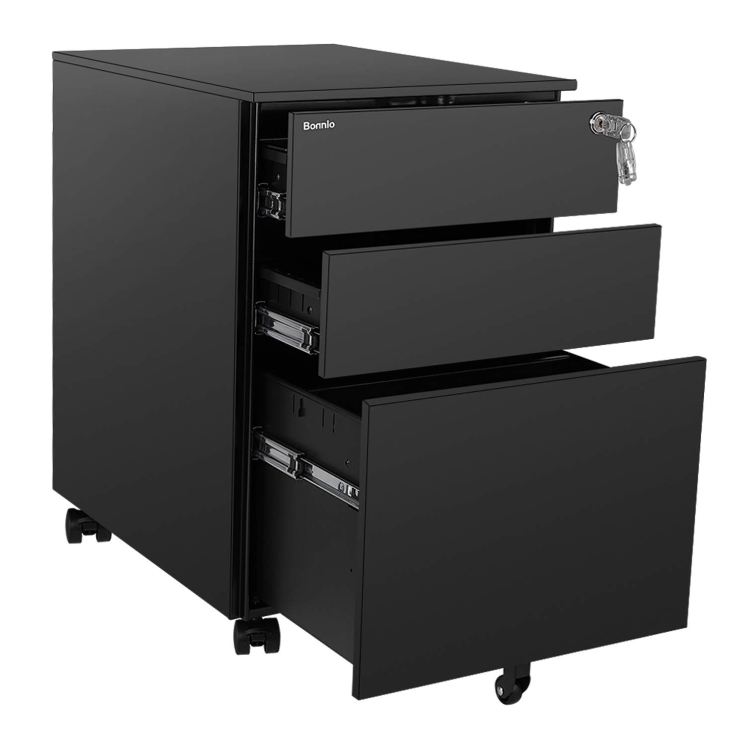 Bonnlo Mobile File Cabinet with Lock, 3 Smooth Gliding Drawers and Wheels for Home Office, Includes 25-Pack Hanging File Folders, Fully Assembled, Black by Bonnlo (Image #8)