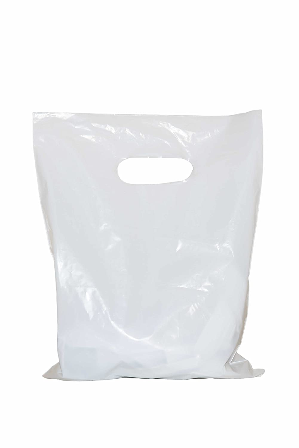Merchandise bags 12x15 with handles: ACME Bag Bros 100 large glossy white merchandise bags, retail shopping bags with handles (die-cut), 12' x 15'