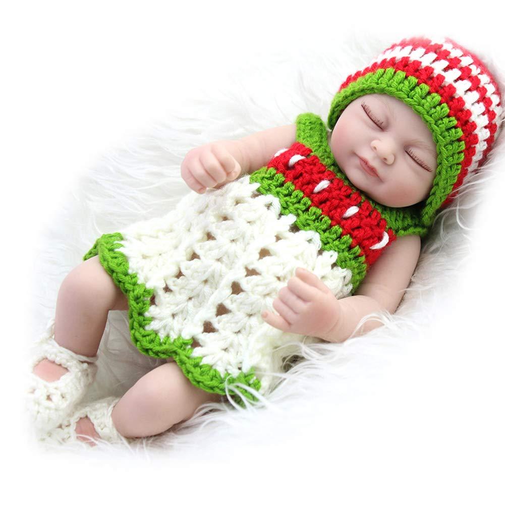 CHENG Reborn Baby Dolls Sleeping Baby Lifelike Birthday Xmas Gift Dolls,color1,28CM
