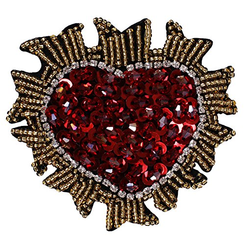 1pieces Handmade Beaded Sequin Crystal Heart Design Patches Badge Applique Clothing Bags Decorated Sewing Accessories TH575 (Applique Heart Sequin)