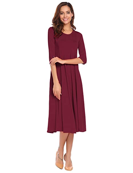 Misakia Women's Elegant Round Neck 3/4 Sleeve Midi Dress (Wine Red M)
