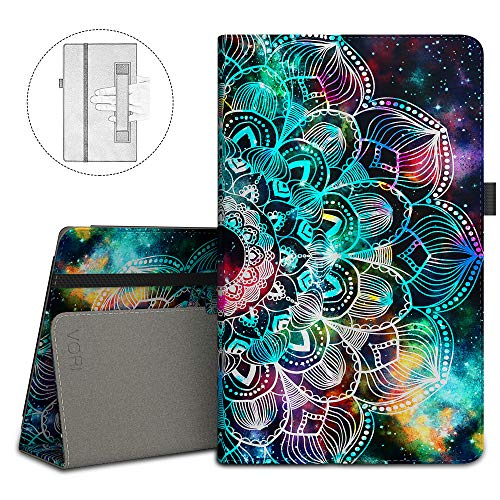 VORI Folio Case for All-New Amazon Fire HD 8 Tablet (8th/7th/6th Generation, 2018/2017/2016 Release), Slim Premium PU Leather Stand Protective Cover with Auto Wake/Sleep, Mandala Galaxy (Fire Hd 8 6th Generation Screen Replacement)