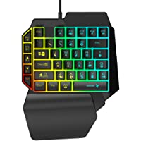 Overhandigd mechanisch gamingtoetsenbord, 39 toetsen USB bedraad mechanisch toetsenbord met één hand RGB…