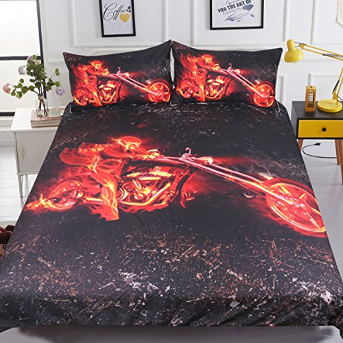 Sleepwish 3D Motorcycle bedding Quilt Cover Fiery Biker and Flames Pattern Duvet Cover Boys Kids Motorcycle Bed Coverlet (Twin)