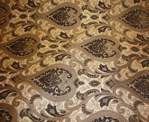 (upholstery Chenille Monte Cristo Brown Damask Fabric with Gold fabrics 55