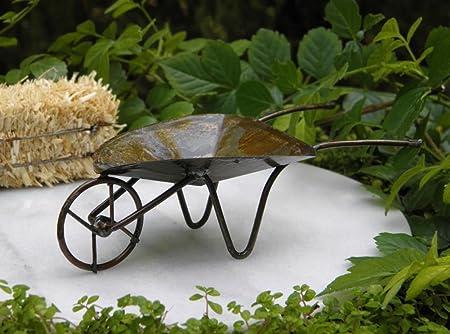 Casa de muñecas en miniatura de hadas Muebles de jardín rústico envejecido Metal carretilla: Amazon.es: Hogar