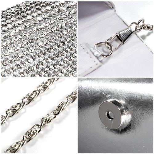 Evening Crystal Diamante Women Clutch Satin Handbag Party Shiny Silver Wedding Anladia Prom Bag ECqzxz