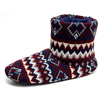 Men's Dunlop 'Bobby' Nordic Bootee Slippers Charcoal Fairisle Knitted Uppers CU_8162
