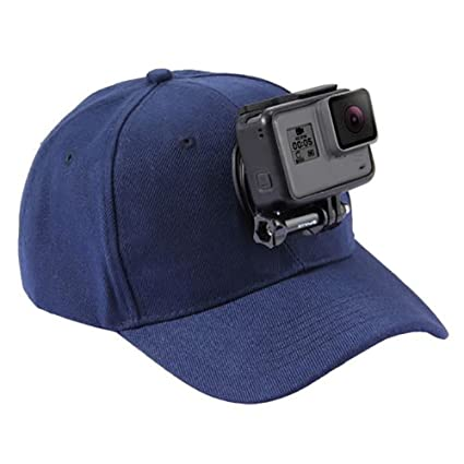 Blue Camera Baseball Hat Compatible with Removable GoPro Camera Head Mount with J-Hook Buckle Mount Screw Adjustable Sun Caps Idea for Outdoor Activities Fishing Hiking Biking