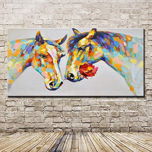 YHXIAOBAOZI Pinturas Al Pintura Al Oleo Pintado A Mano,Pinturas Al Oleo Pintado A Mano Casarse Caballo Amarillo Animales Modernos Cuadros De Pared para El Salon De Arte De Pared 80×160Cm,