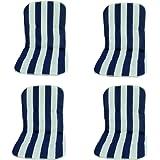 beo Niedriglehner MS08 Palma MN Monoblockauflage für niedrige Stapelstühle, circa 40 x 72 cm, Stärke 2 cm, blau/weiβ