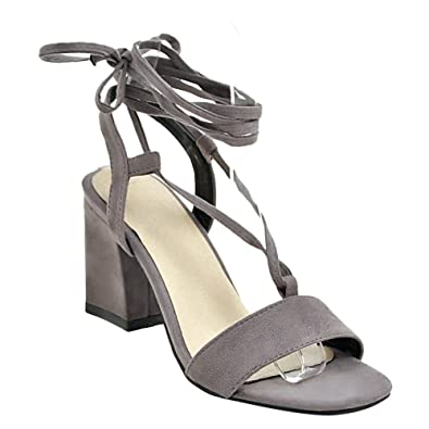 Mee Shoes Damen Chunky Heels Open Toe Nubukleder Sandalen