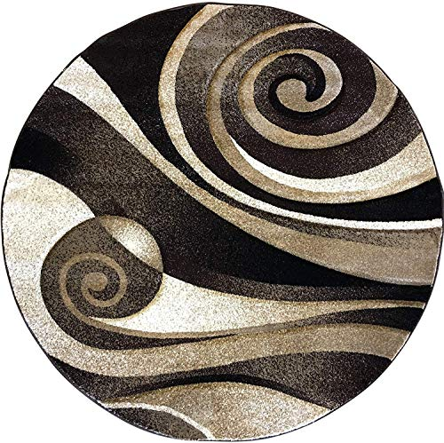 Sculpture Modern Round Contemporary Area Rug Chocolate Brown Black Beige Abstract Design 258 (4 Feet X 4 Feet)