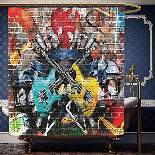 Wanranhome Custom-made shower curtain MusicBy Ambesonne Collage Of Music Color And Musical nstruments Street Wall Art Joy Nostalgia For Bathroom Decoration 69 x 90 - Galleria Street Main