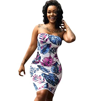 e7c947bc82e Amazon.com  Plus Size Women Bodycon Sexy Off Shoulder Floral ...