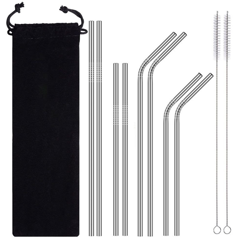 8PCS Stainless Steel Drinking Straws Reusable Mental Straws for Drinking Recylable Break Proof Drinking Straws with 2 Cleaning Brushes Pouch (White)