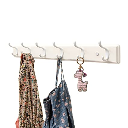 COAT RACK Wall Mounted, Floating Solid Wooden Coat Hook, Creative White Wood Hat Clothes