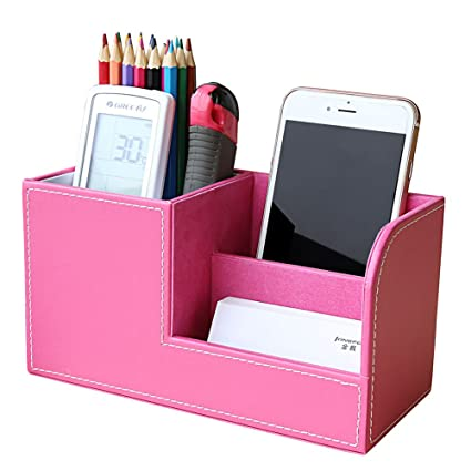 Multifunctional Office Desktop Decor Storage Box Leather Stationery Organizer Pen Pencils Remote Control Mobile Phone Holder Desk Accessories & Organizer Office & School Supplies