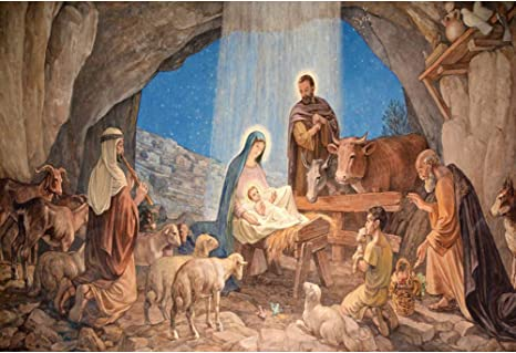 RBabyPhoto Jesus Birth Backdrop 7X5FT Rural Old Barn Sheepherder Virgin Mary Straw Haystack Christ Merry Christmas Photography Background for Happy New Year Eve Photo Studio Props Vinyl CK168