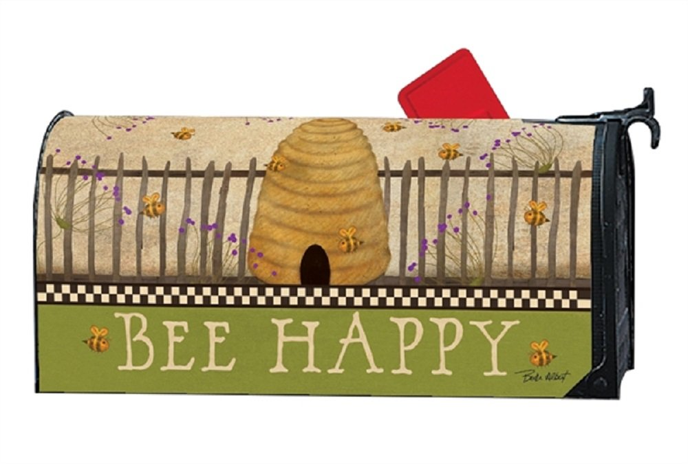 MailWraps Studio M Mailbox Cover Bee Happy