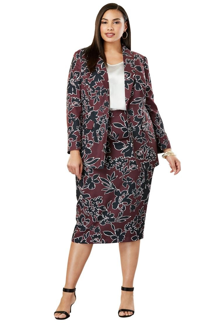 Jessica London Women's Plus Size 2-Piece Single-Breasted Skirt Suit Deep Merlot