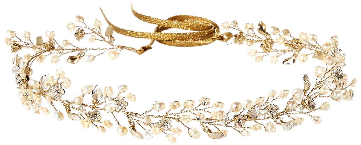 Twigs & Honey Women's Dainty Beaded Fern Leaf Vine Bridal Hairpiece, Gold, One Size by Twigs & Honey