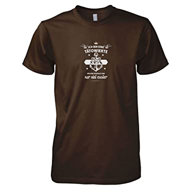 TEXLAB - Tätowierte Oma - Herren T-Shirt, Größe S, braun