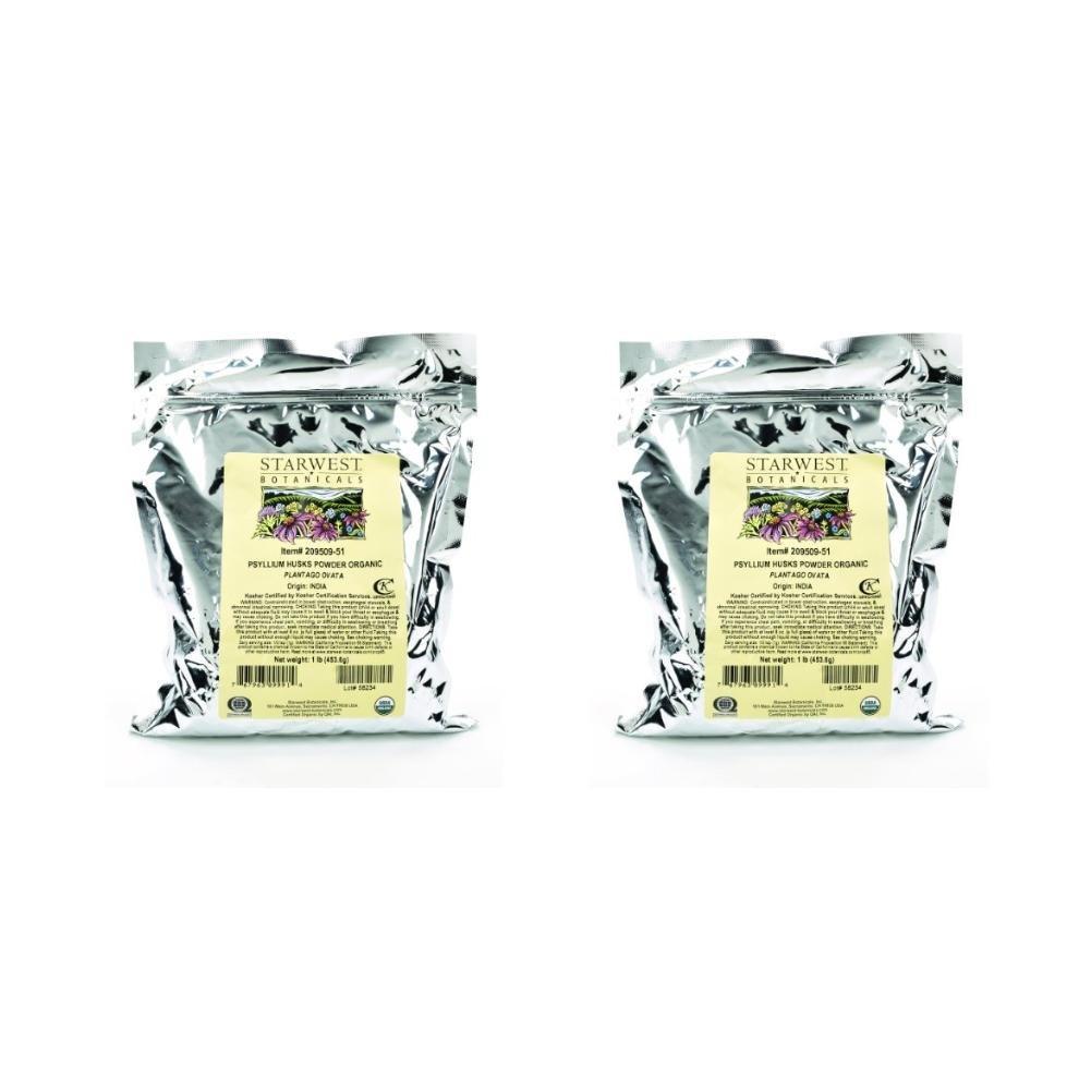 Starwest Botanicals Organic Psyllium Husk Powder, 1 Pound (Pack of 2)