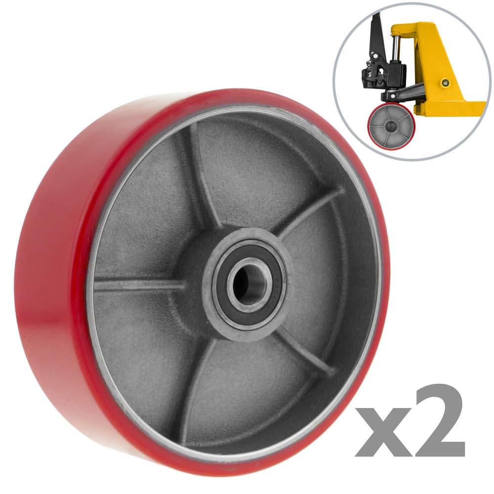 PrimeMatik - Wheel for pallet truck polyurethane roller 180x50 mm 900 Kg 2-pack PrimeMatik.com