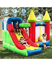 YARD Bounce House with Slide 0.4mm Vinyl Extra Thick Bouncing Floor Inflatable Jump Indoor Outdoor Bouncy Castles for Kids with Blower