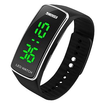 SKMEI Pulsera de silicona Digital LED Impermeable Reloj deportivo Casual unisex,simpre, cómodo y ligero (Negro con borde plateado): Amazon.es: Deportes y ...