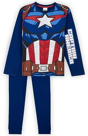 Marvel Pijama Niño, Capitan America Pijamas Niños, Conjunto Pijama Niño Invierno de Manga Larga, Regalos para Niños y Adolescentes 18 Meses-14 Años
