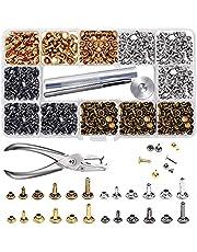 McNory 480 uppsättningar 3 storlekar läder nitar dubbellock ribbat tubular metallörhängen med 4 verktyg tänger/set för gör-det-själv läderhantverk kläder (silver, brons, guld, svart)
