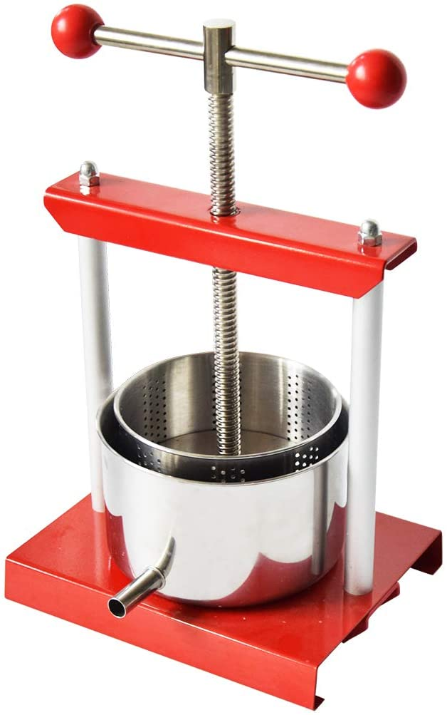 0.8 Gal Fruit Wine Press - 100% Natural Juice Making for Apple/Carrot/Orange/Berry/Vegetables,Food-Grade Stainless Steel Cheese&Tincture&Herbal Press
