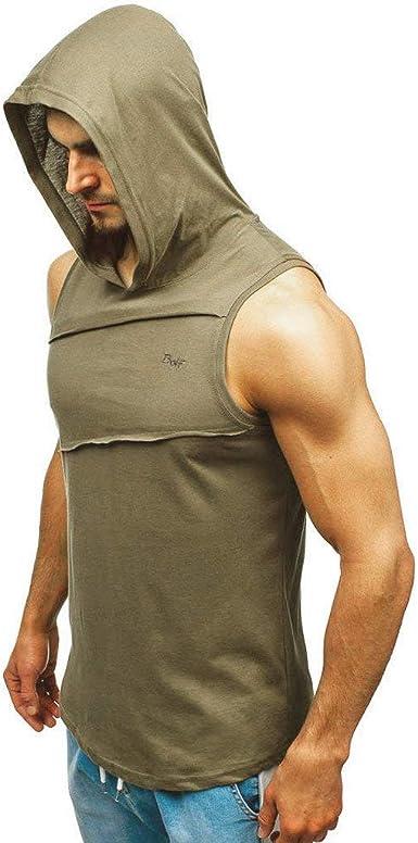 New Arrivel  Men Hoodie Bodybuilding Tank Muscle Hooded Sleeveless Top Gym Vest