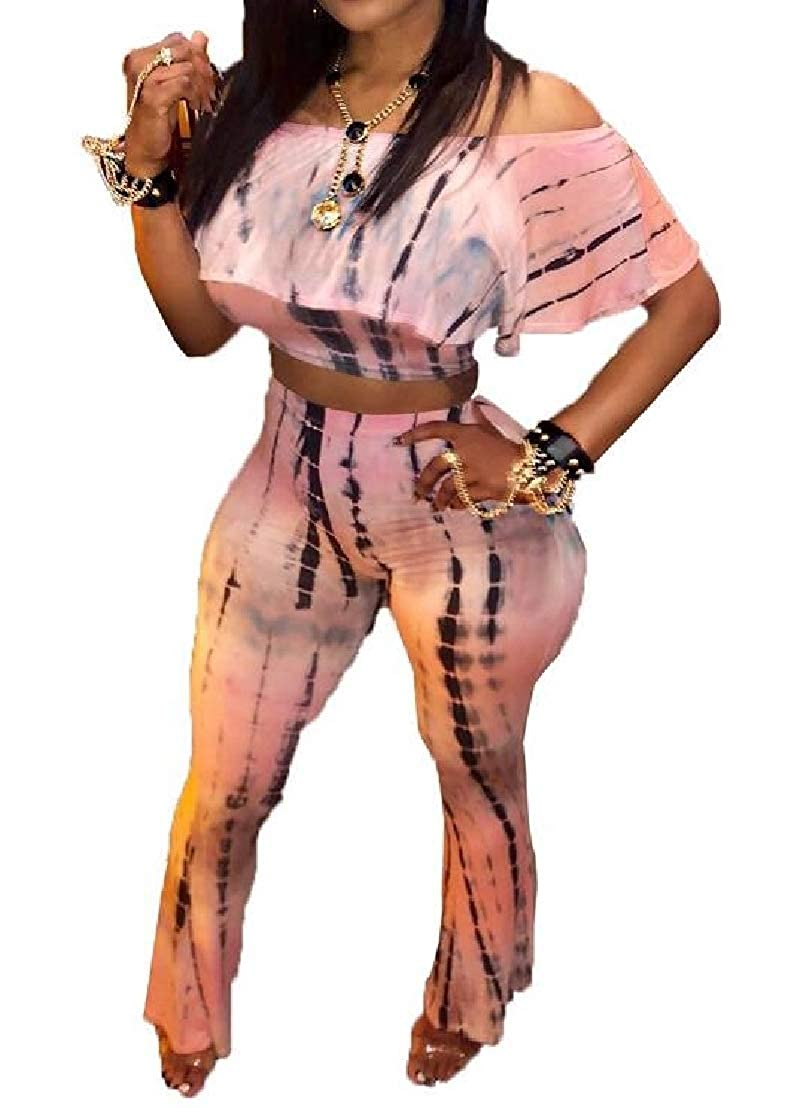 GRMO Women Off The Shoulder 2 Piece Outfits Club Tie Dyed Tops and Wide Leg Pants Set