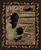 Rug Empire Rustic Lodge, Bear Cubs Area Rug, 2'2″ W X 7'7″ L, Black For Sale