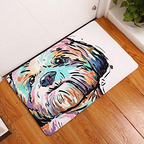 (eazyhurry Bichon Frise Print Rectangle Thin Doormat Pet Puppy Dog Printed Coral Fleece Home Decor Carpet Kitchen Floor Runner Floor Mat Indoor Outdoor Area Rug 16