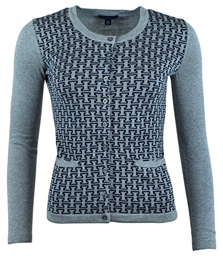 Tommy Hilfiger Womens Cotton Cardigan H Logo Sweater - XL - Gray/Navy Fox Cardigan Sweater
