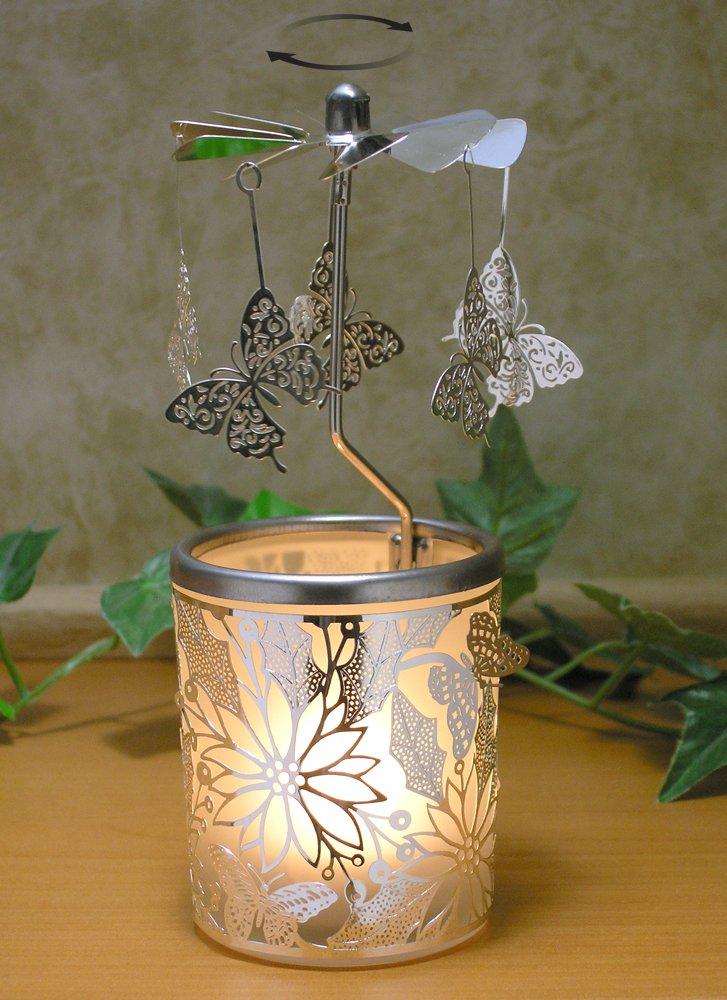 Butterfly Spinning Candle Holder - Silver Butterflies with a Floral Laser Cut Design Base - Scandinavian Design