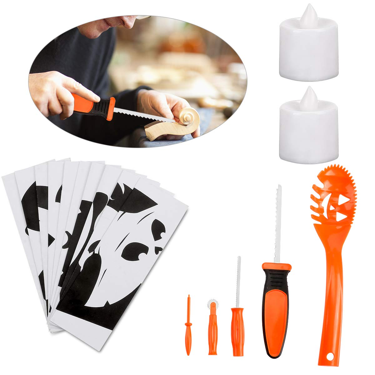 Pumpkin Carving Kit for Kids 5 Easy Halloween Pumpkin Carving Tools Set 2 LED Candles & 10 Carving Templates by Mibor