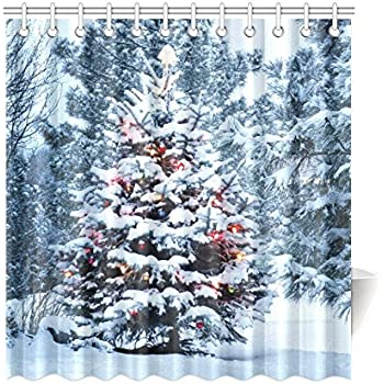 InterestPrint Snow Covered Christmas Tree Brightly Home Decor Winter Snowy Scenery Polyester Fabric Shower Curtain